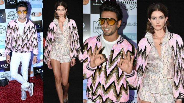 सितारे लगी लड़कियों वाली जैकेट पहन रणवीर सिंह ने सब को किया हैरान